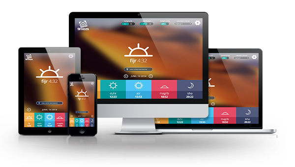 The TIMEZ5 multi platform prayer app provides prayer times for all major cities on desktop, tablet and mobile